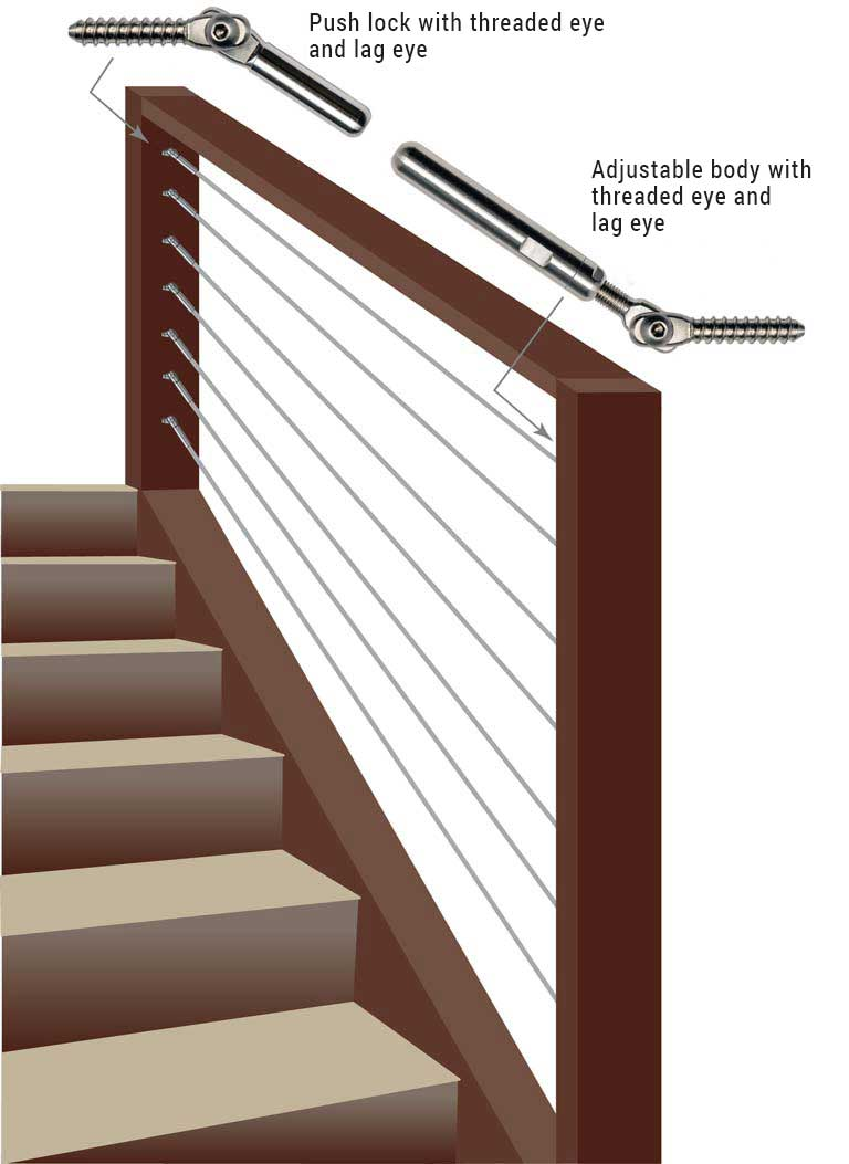 DeckWise® WiseRail™ Legacy 500 cable railing stairs