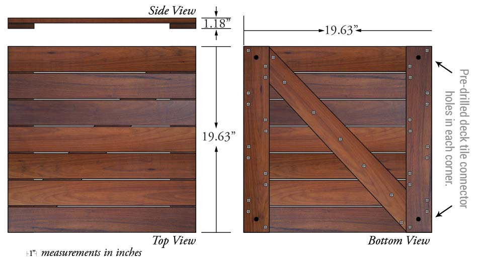 Ipe Wisetile 20x20 Specs Tigerwood Hardwood Deck Tile