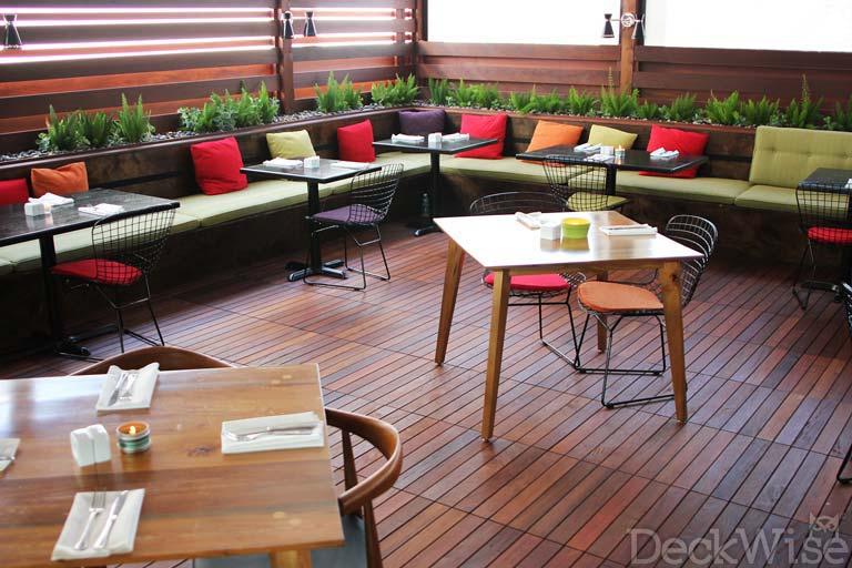 Ipe hardwood deck tiles in 24x24 tile squares deckwise ipe deck tiles at dining establishment ppazfo