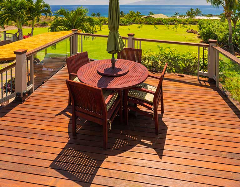 Exotic hardwood deck in tropical destination