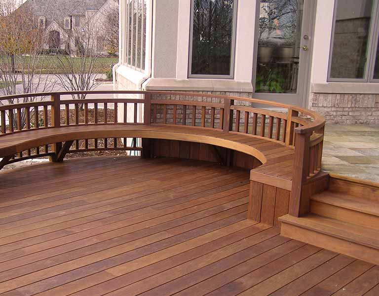 Ipe hardwood deck with large circular bench