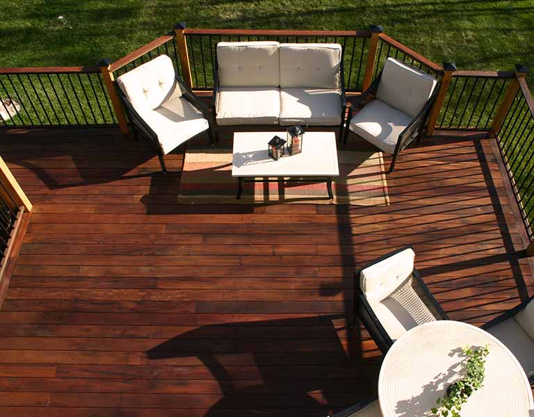 Aerial view of raised Ipe outdoor patio