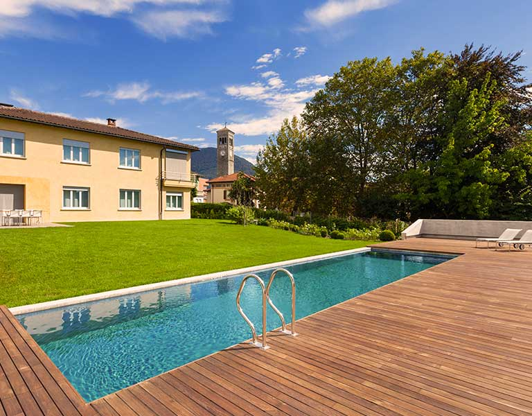 Ipe pool deck in large backyard